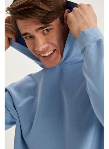 DeFacto Oversize Fit Yıkama Efektli Kapüşonlu Sweatshirt Mavi